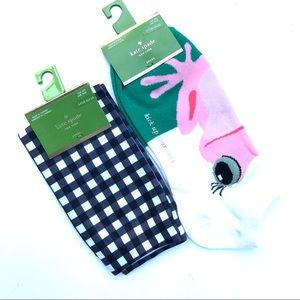 Kate Spade Two Pairs Socks Gingham Frog NWT OS